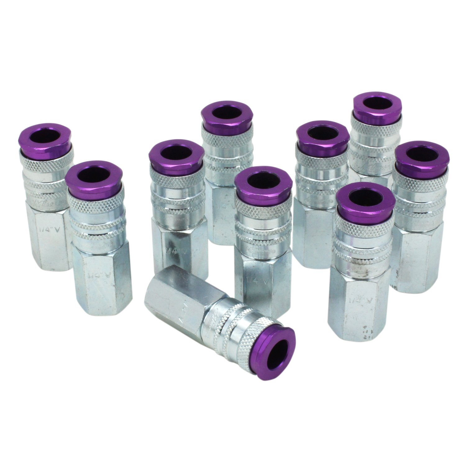 ColorFit by Milton HIGHFLOWPRO 764VC Pneumatic Coupler - (V-Style, Purple) - 1/4'' NPT Female, (Box of 10)