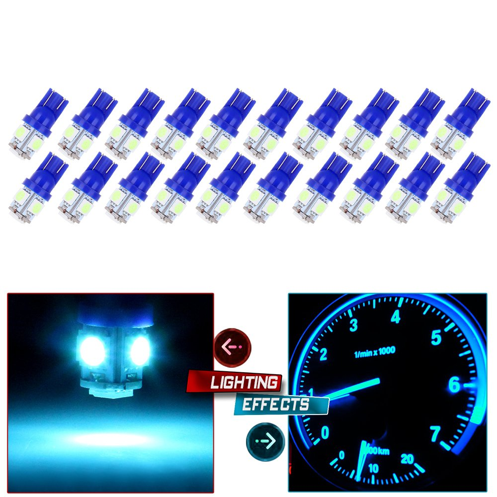 cciyu 20 Pack Ice Blue T10 W5W Wedge 168 194 LED Bulb Replacement fit for 2013 2014 2015 Infiniti JX35 (QX60) Dome Light Map Light Step/Courtesy/Door Light by cciyu