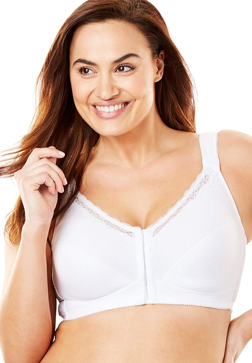 030a26cdd Comfort Choice Women s Plus Size Front-Close Cotton Wireless Posture Bra at  Amazon Women s Clothing store
