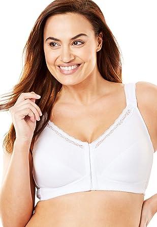 31406264d61 Comfort Choice Women s Plus Size Front-Close Cotton Wireless Posture Bra -  White