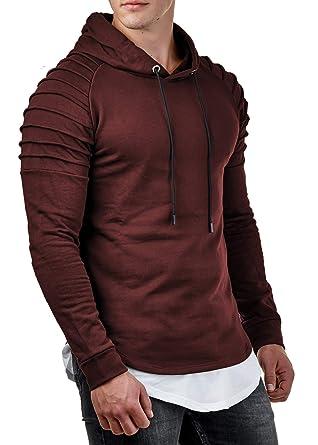 7a03ebdd3593 EightyFive Herren Hoodie Kapuzenpullover Gesteppt Bordeauxrot Schwarz Khaki  EFY71  Amazon.de  Bekleidung