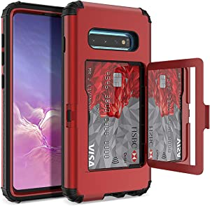 WeLoveCase S10 Plus Wallet Case Defender Wallet Card Holder Cover with Hidden Mirror Three Layer Shockproof Heavy Duty Protection All-Round Armor Protective Case for Samsung Galaxy S10+ Plus Red