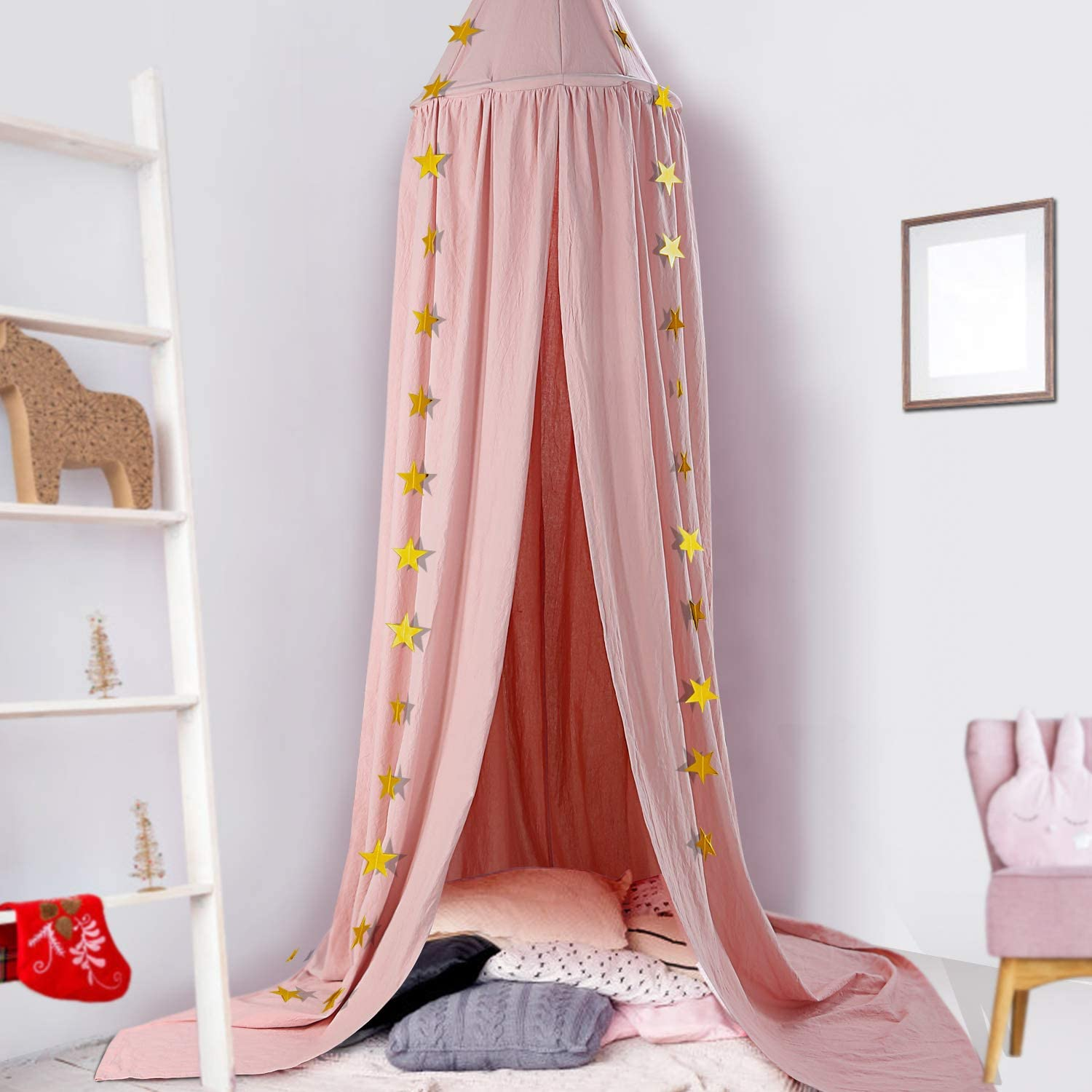 CeeKii Bed Canopy,Kids Nursery Room Decorations,Round Dome Cotton Mosquito Net,Play Tent Crib Nook for Babies Childrens Bedroom DIY with Free Stars,Hight 94.5 inches Blue