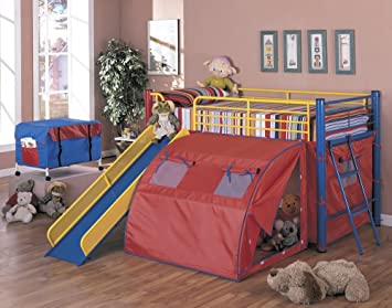 bunk bed with slide and tent. Coaster Bunk Bed With Slide And Tent, Multicolor Tent Amazon.com