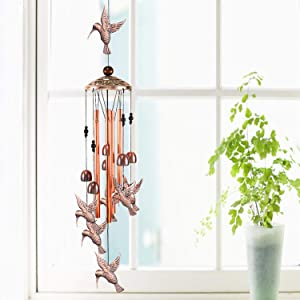 YMXBL Outdoor Hummingbird Wind Chimes Decoration, Gift for Mom, Hummingbird Wind Bell, Indoor Hummingbirds Windchime, Music Wind Catcher, Aluminum Chime, Home Decor Mobile Windchime, Garden Wind Chime