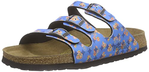 6ccc31afc2c6 Birkenstock Florida 322533 (Narrow Fit) - Floral Circles Blue (Synthetic) Womens  Sandals