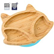 Suction Baby Plate - Toddler Fox Cub Suction Plates, Stay Put Feeding Plate, Natural Bamboo (Blue)