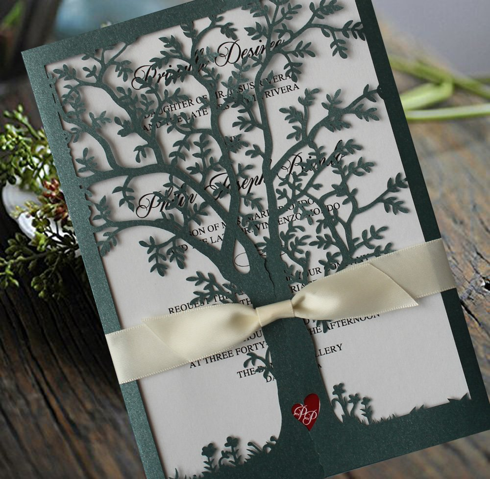 Green Color Tree Wedding Invitations, White Ribbon Invitation Cards, Laser Cut Tree Wedding Invitations - Set of 50
