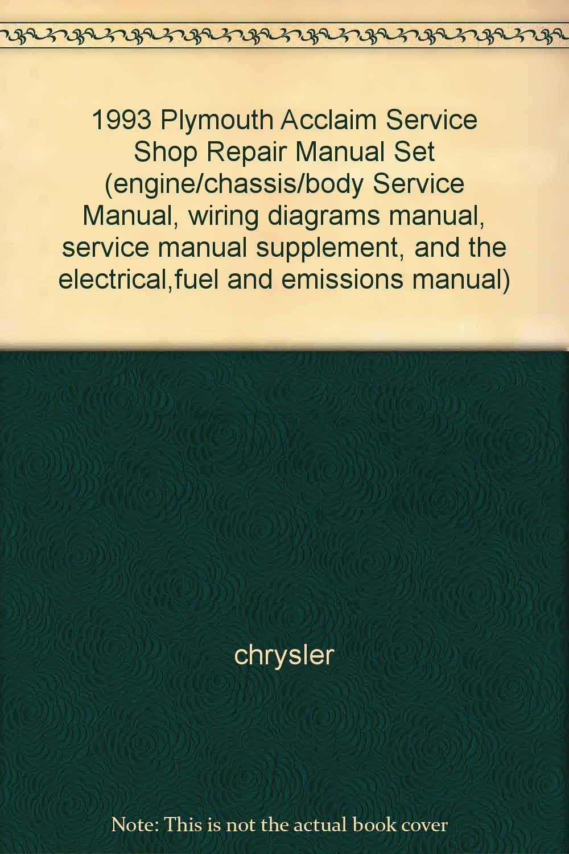 1993 plymouth acclaim service shop repair manual set engine chassis rh amazon com