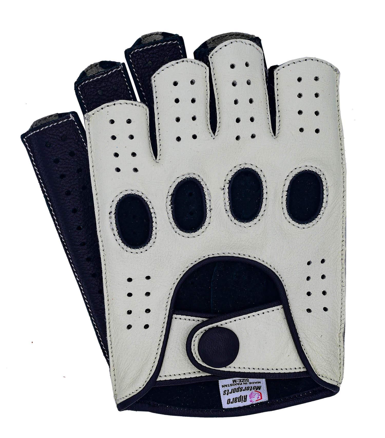 Riparo Women Genuine Leather Reverse Stitched Half-Finger Fingerless Driving Motorcycle Gloves (7, White/Black)