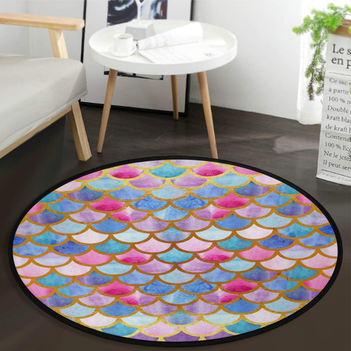 Vdsrup Rainbow Mermaid Scales Doormat Cute Fish Scales Round Floor Mat Non Slip Absorbent Carpet Yoga Rug for Entryway Bedroom Living Room Sofa Home Decor
