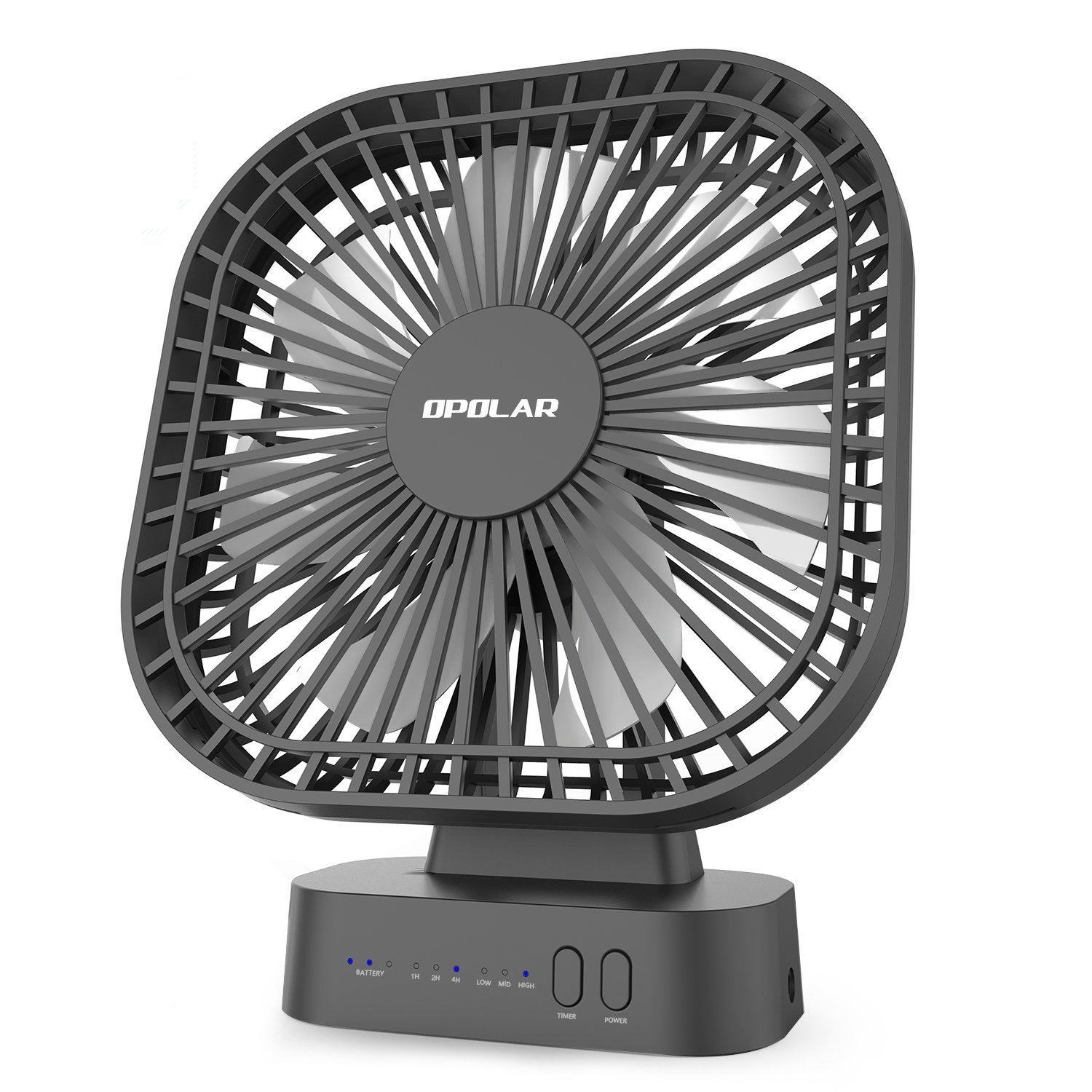 OPOLAR Battery Operated Fan, 5200mA Rechargeable Battery Powered Fan, Strong Wind but Quiet, Timer Setting, USB or Battery Powered for Office or Outdoor, Small Mini Personal Desk Fan 4335397927
