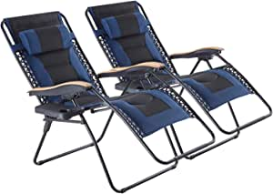 Oversized Zero Gravity Chair 2 Pack, XL Padded Folding Patio Lounge Recliner with Cup Holder and Headrest for Lawn, Porch, Camping, Support 350 LBS, Dark Blue