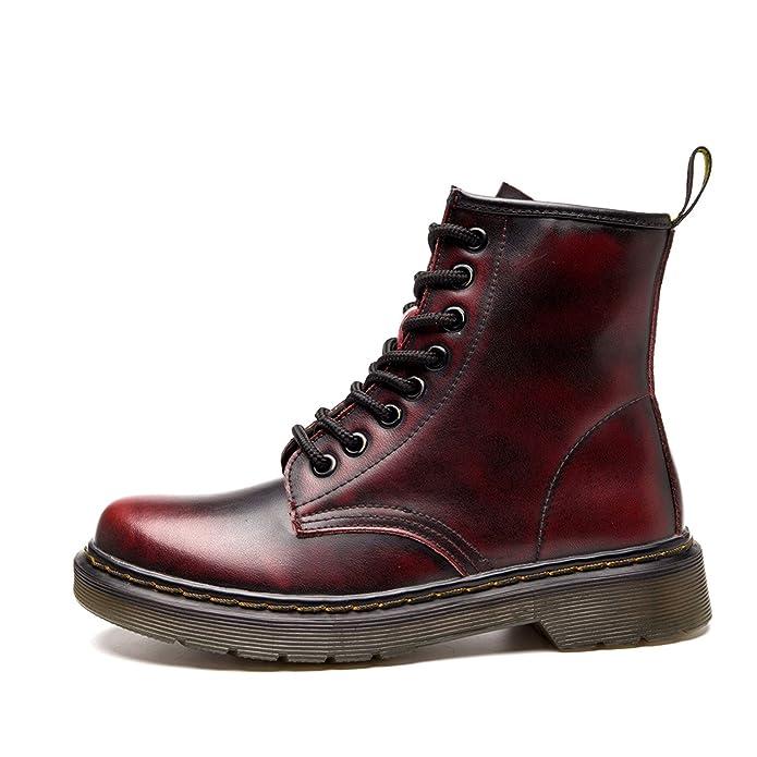 Damen Martin Stiefel Derby Wasserdicht Kurz Stiefeletten Winter Herren Worker Boots Profilsohle Schnürschuhe Schlupfstiefel,Ungefüttert/Schwarz 37 EU