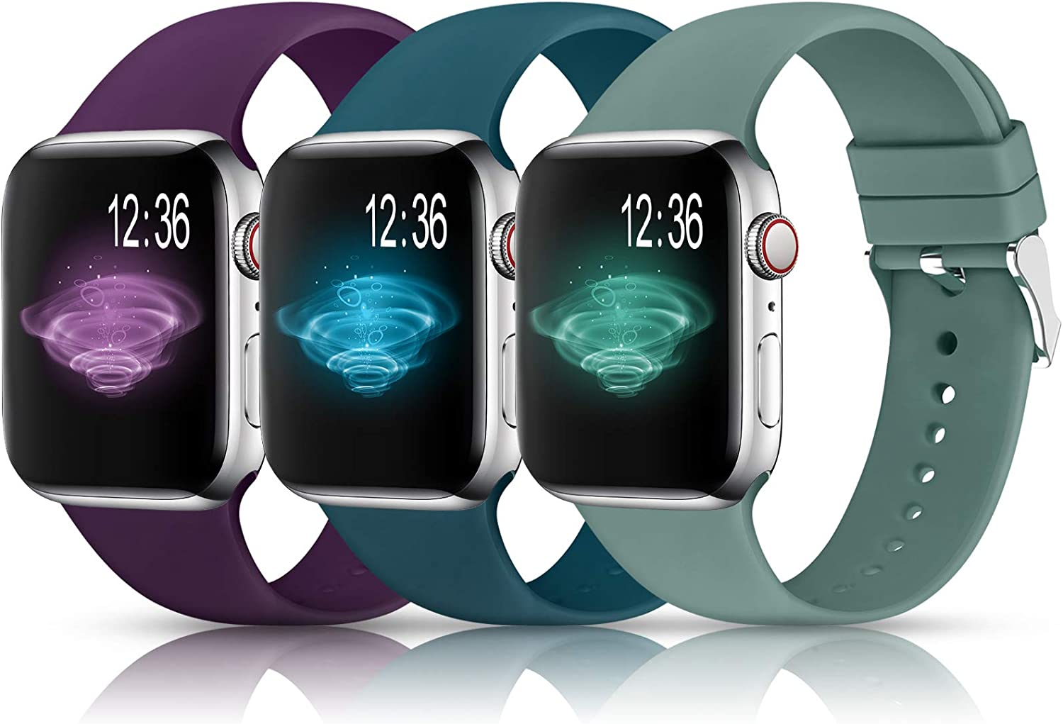 Sport Bands Compatible with Apple Watch Band 38mm 40mm 42mm 44mm,Soft Silicone Replacement Wristbands Straps for iWatch Series 1/2/3/4/5 Women Men(T,Cactus,Olive Green,Purple)