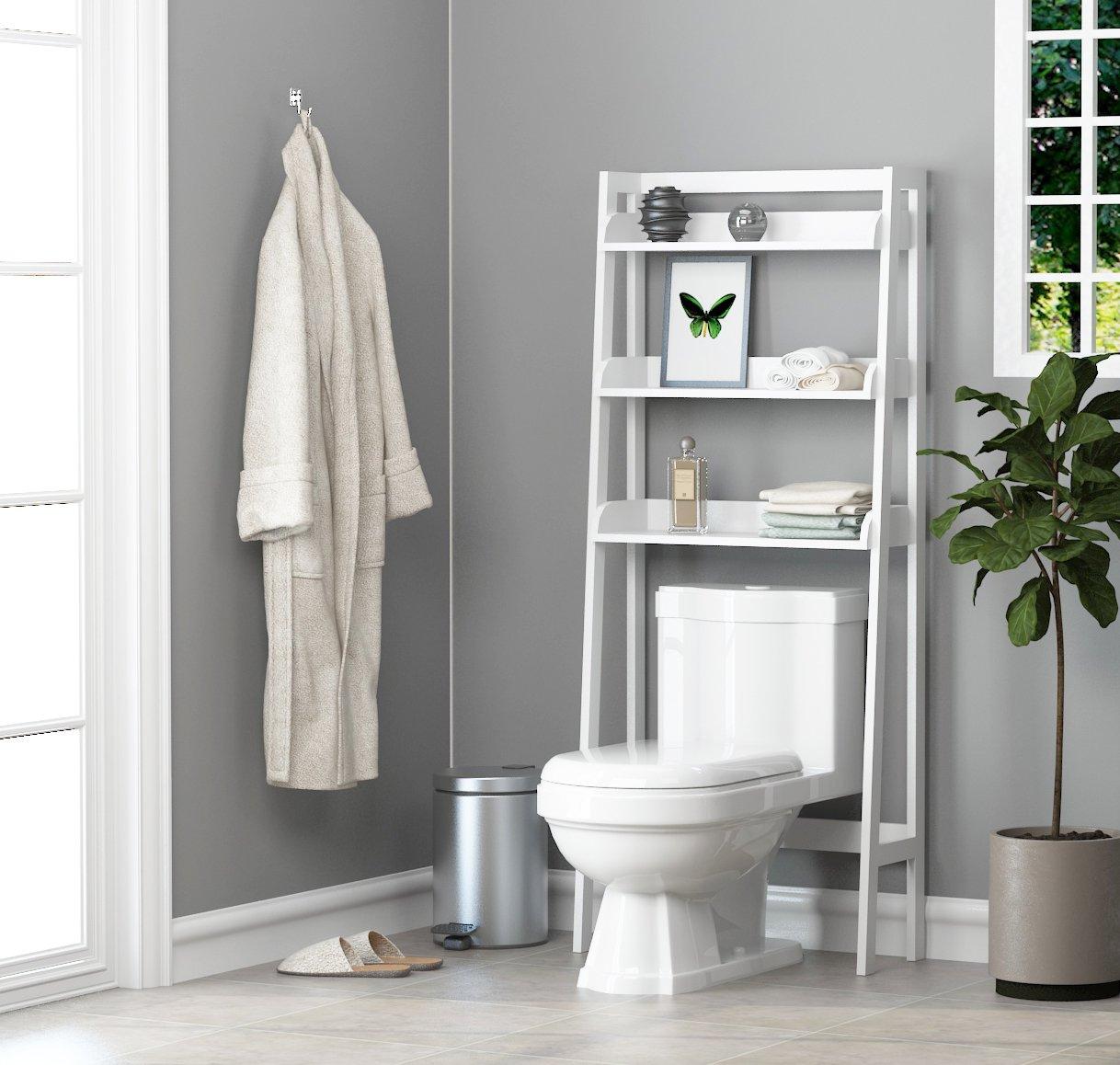 UTEX 3-Shelf Bathroom Organizer Over The Toilet, Bathroom Spacesaver, White Finish by UTEX