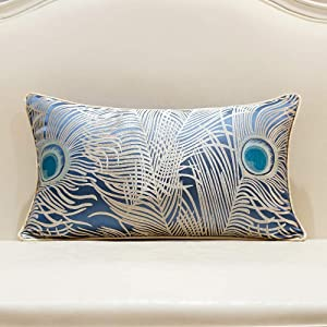 Avigers 12 x 20 Inches Light Blue Silver Peacock Feathers Cushion Cases Luxury Throw Pillow Covers Home Decorative Pillows for Couch Sofa Living Room Bedroom Cars 30 x 50cm