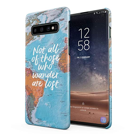 d503953cd5f Amazon.com: Not All Who Wander are Lost Adventure Vintage World Map  Protective Hard Plastic Snap-On Phone Case Cover for Samsung Galaxy S10  Plus: Cell ...