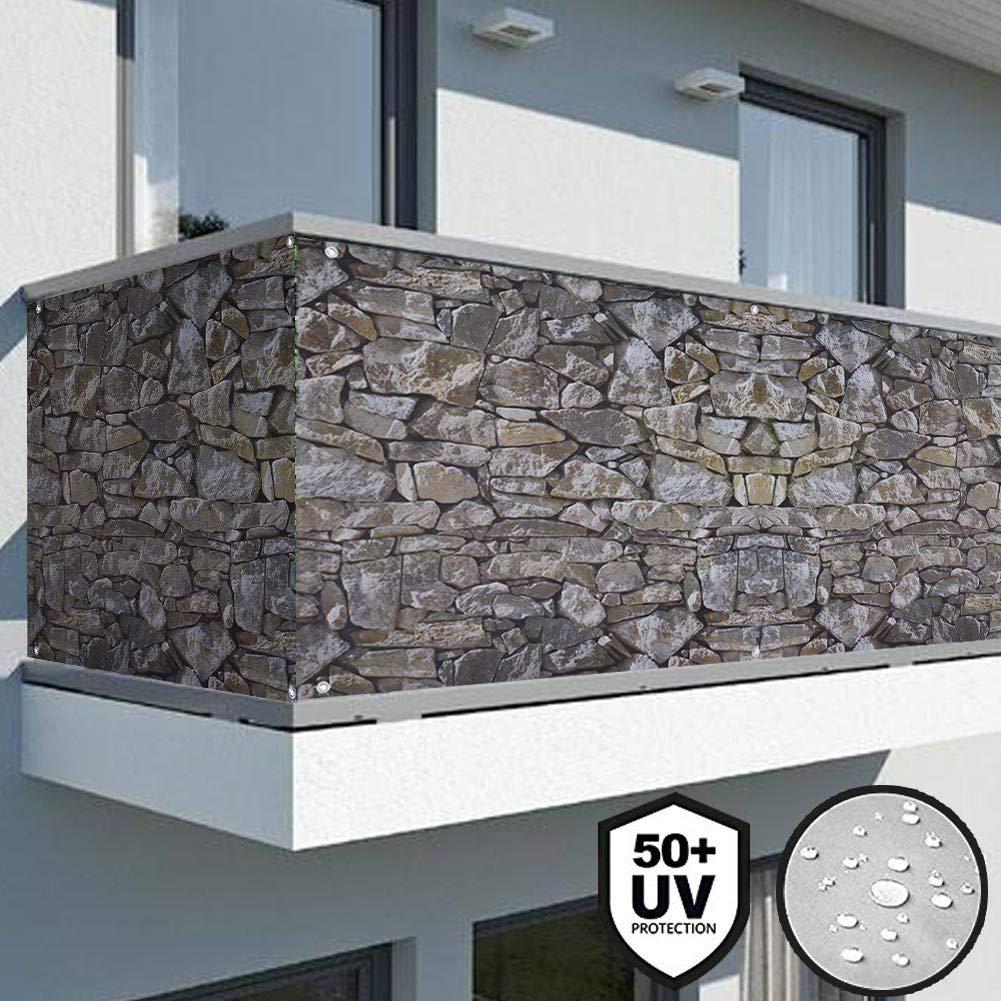 small Telo Copertura Frangivista Effetto Pietra Protezione Balcone Anti Vento Frangivento Grigio 600 x 90 CM Corda 24M Grigio Stone