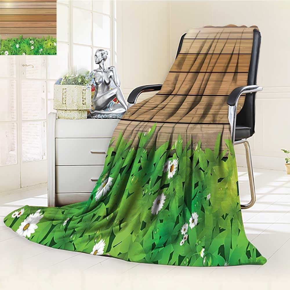 AmaPark Lightweight Blanket Flower Daisy Leafs and Water Droplets Wood Fence Theme Green Brown Digital Printing Blanket