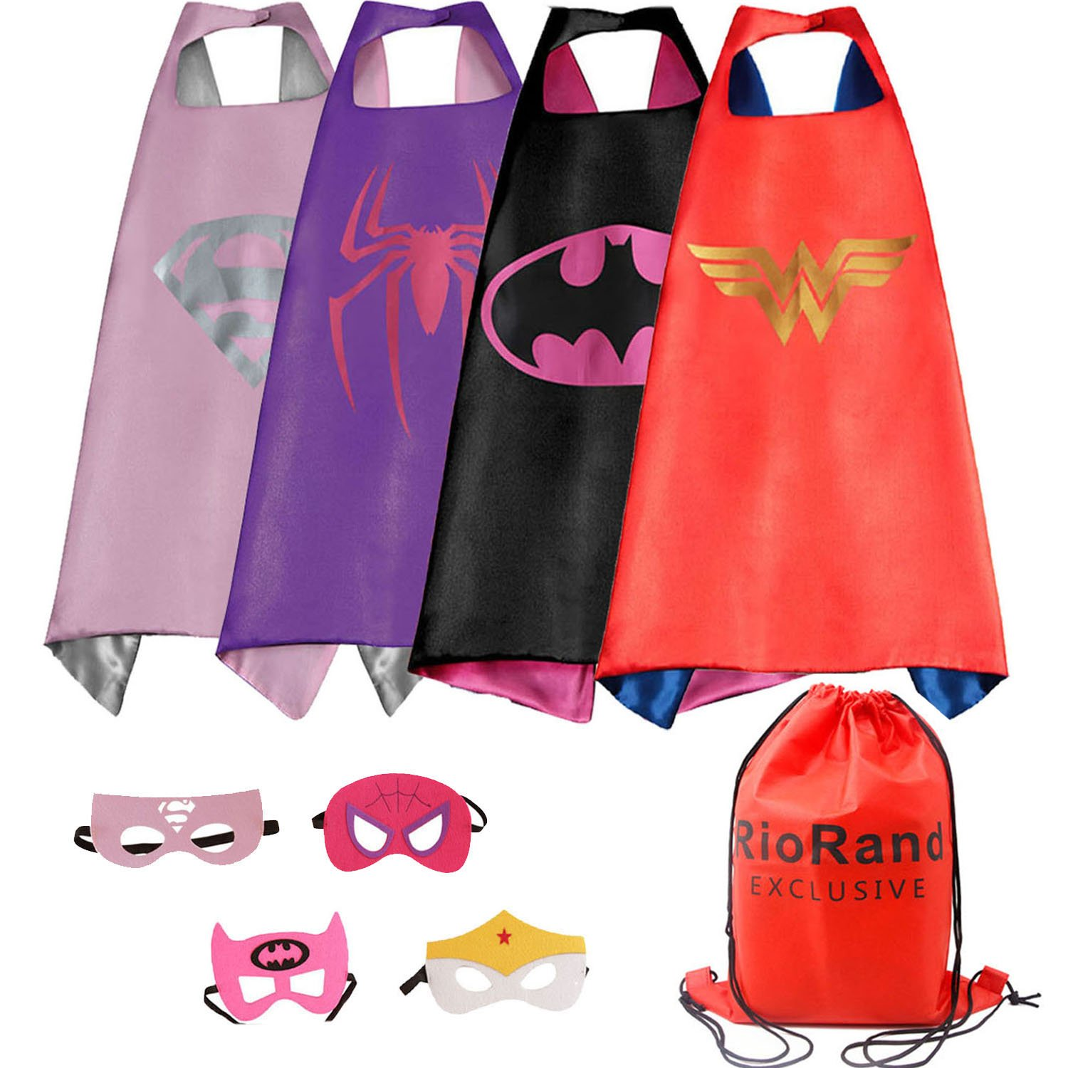 Dress Up Costumes Cartoon 4 Satin Capes With Felt Masks and Exclusive Bag For Girls