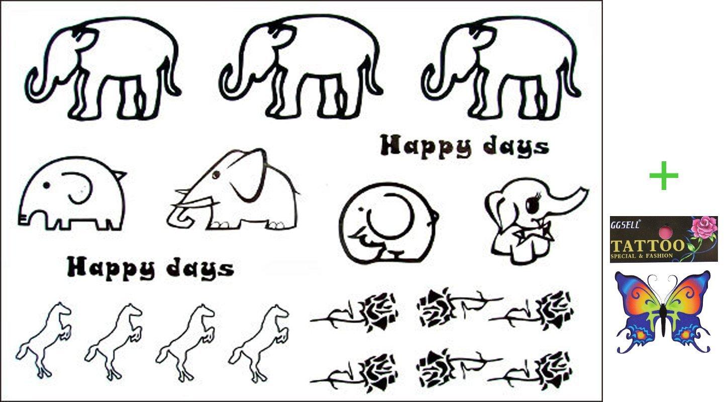 2012 spätestens neues Design heißer Verkauf Männliche und weibliche Fake Tattoos wasserdichte Elefanten Rose Tattoo Aufkleber