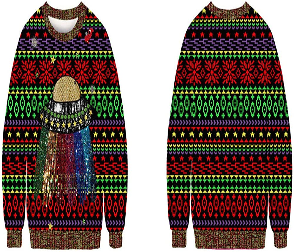 DISCOUNTL Christmas Theme Cartoon 3D Digital Printing Casual Jacket Round Neck Sweater Picture Color5