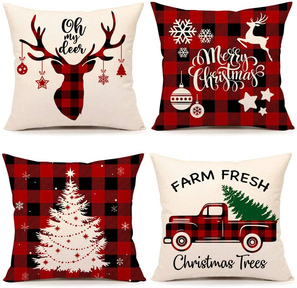 4TH Emotion Christmas Pillow Covers 18x18 Set of 4 Christmas Pillows Winter Holiday Buffalo Plaid Throw Pillows Deer Farmhouse Christmas Decor Red Truck Christmas Decorations for Couch S200