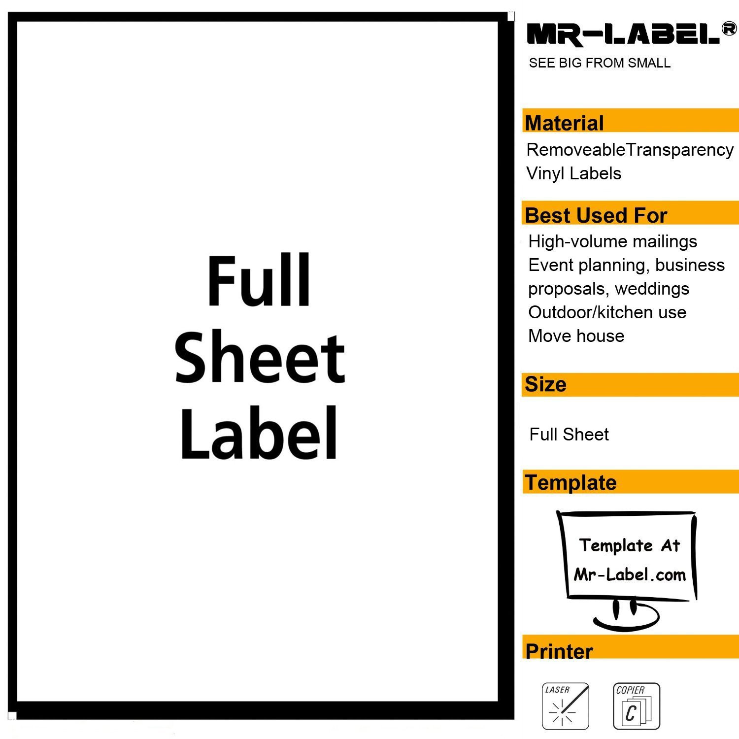 MR-LABEL Clear Full Letter Sheet Removable Adhesive Labels –Transparent Tear-Resistant Waterproof Stickers for Kitchen Use | Manufacturing and Storage-Laser Print Only (100 Sheets)