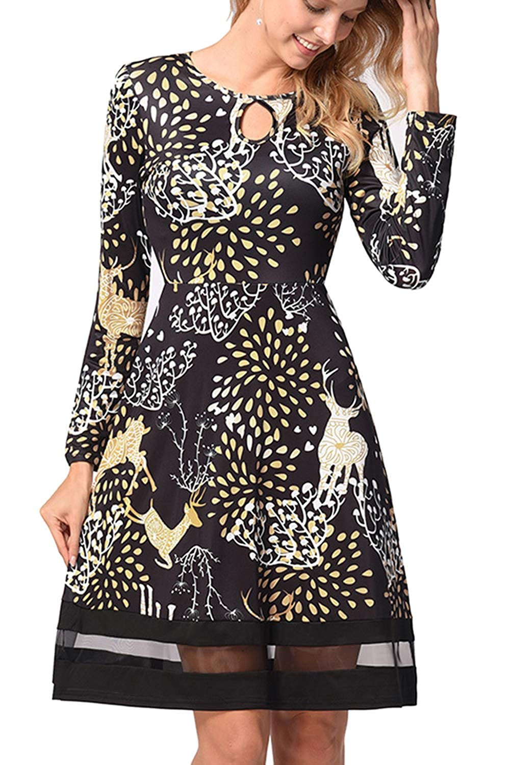 Vosujotis Womens Christmas Dress Long Sleeve Xmas Print Flared Midi Dress