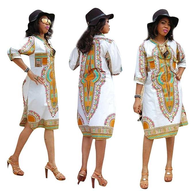 0da0061faa8d Susenstone New Women Summer Casual Deep V-Neck Traditional African Print  Party Dresses (M