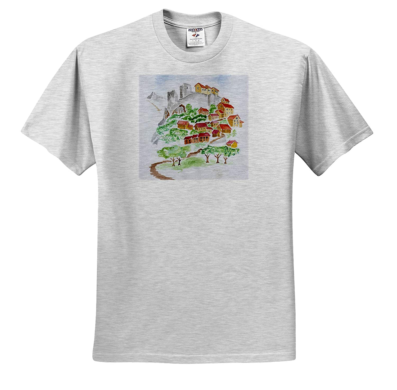 France France 3dRose Danita Delimont ts/_313167 Road to The Hilltop Fortress of Corte Adult T-Shirt XL Corsica