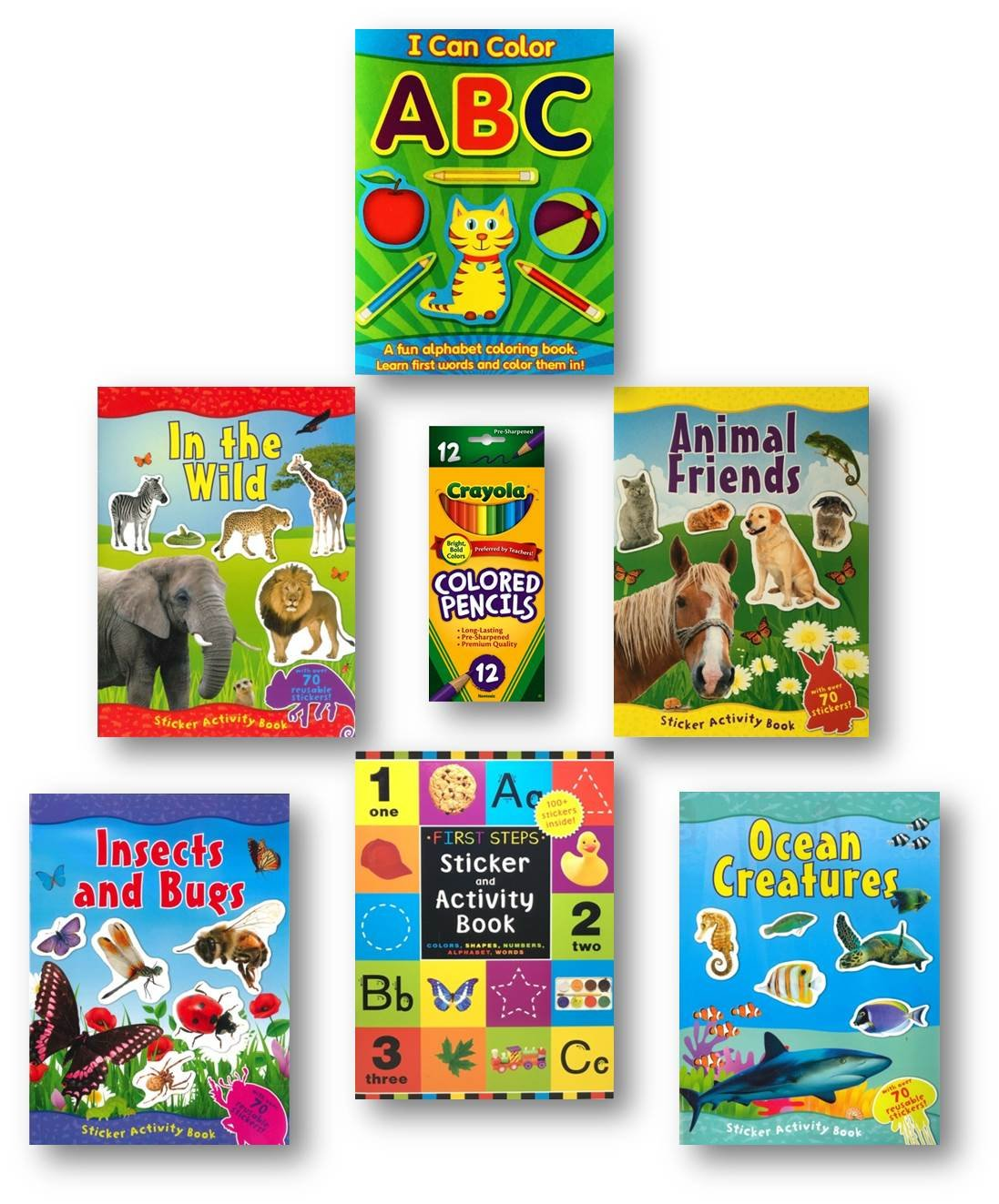 Sticker Books for Kids Girls and Boys, 6-Pack Includes Four Animal Themed Sticker Books, a First Steps Sticker and Activity Book, an ABC Coloring Book and a Box of 12 Colored Pencils