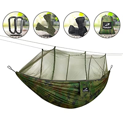 Hamac avec moustiquaire, Lhedon Portable en nylon Hamac Hamac double de camping avec sangles d'arbre pour randonnée, camping, randonnée, Voyage, plage, cour