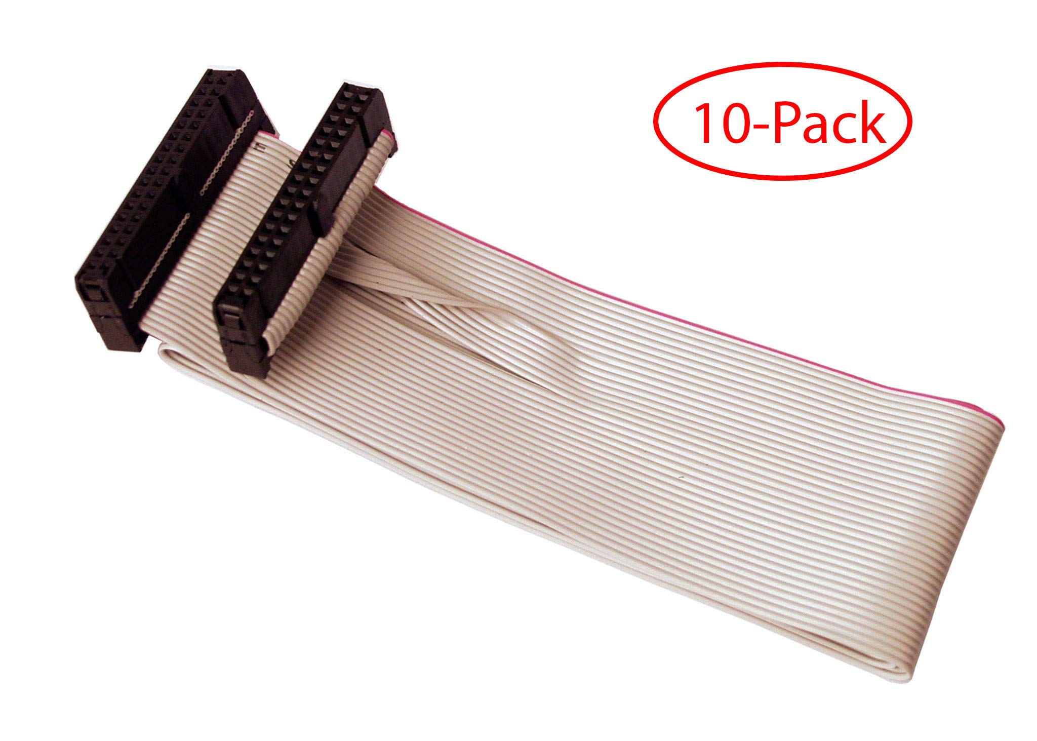 IAENCLOSURES CAB-FDDS19-10PK 19 inch Standard 34 pin Floppy Drive Cable for Industrial Computer Board. (2) 34 Pin 2.54mm Pitch Female Connectors. (10 Pack Version) by IAENCLOSURES
