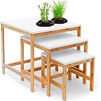 Relaxdays Tables gigognes d'appoint lot de 3 en bambou 50, 40, 30 cm BAMBOO Table de salon plateau blanc style scandinave nordique bois, nature et blanc
