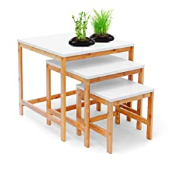 Relaxdays Tables gigognes d'appoint lot de 3 en bambou 50, 40, 30 cm BAMBOO Table de salon plateau blanc style scandinave nordique bois, nature et blanc