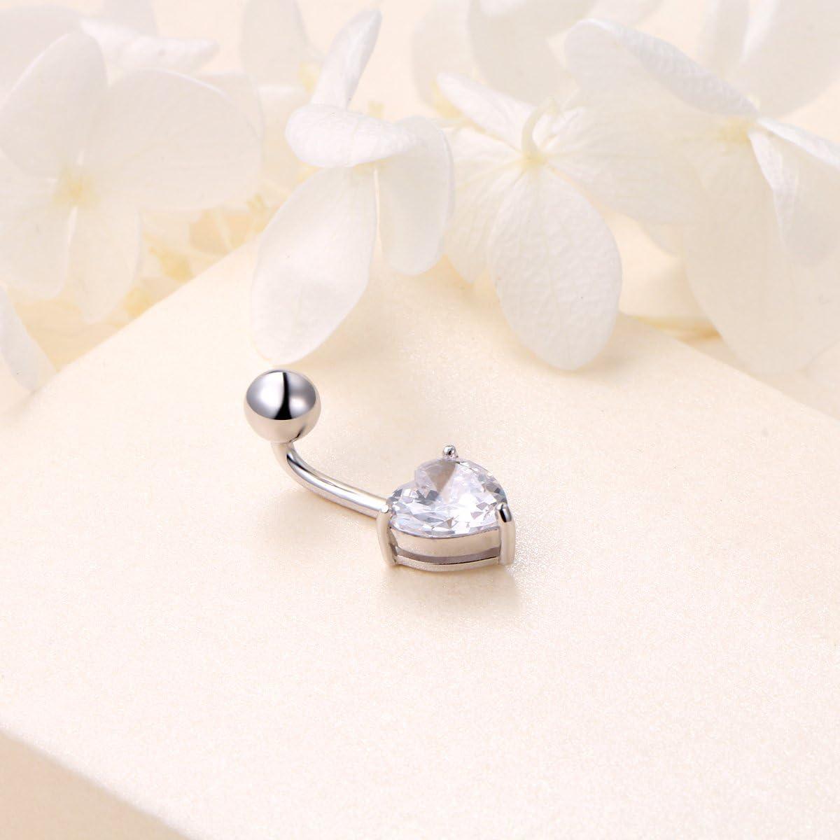 Sterling Silver Belly Button Rings for Women Girl Navel Rings CZ Body Piercing
