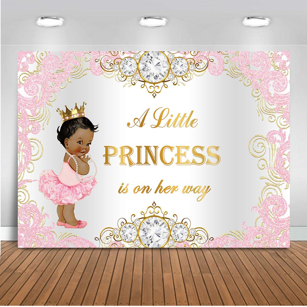 Mehofoto Royal Princess Baby Shower Backdrop Pink Silver Diamond Baby Shower Background 7x5ft Vinyl Girl's Baby Shower Party Banner Decoration Supplies by Mehofoto
