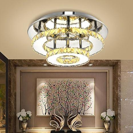 Cristal Lámpara de techo LED 24 W redondo doble capa Moderno ...