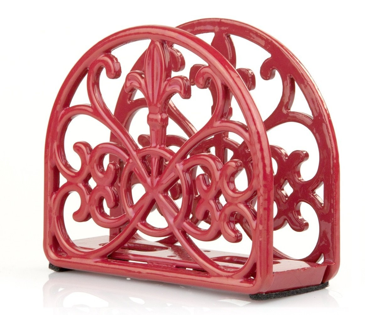 HOME BASICS Cast Iron Fleur De Lis Napkin Holder, Red HDS Trading Corp NH44393
