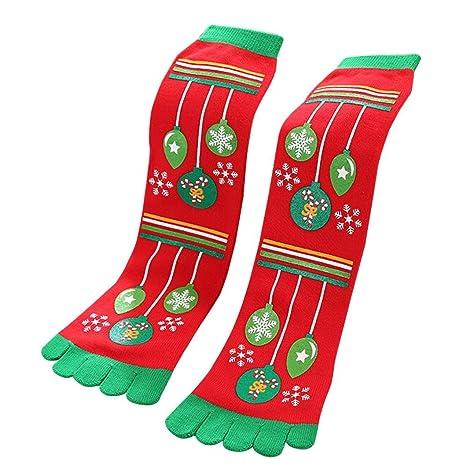 Adulto Navidad Cinco Dedos Calcetines,Lenfesh Unisex Christmas Ropa Separados CóModo Calcetines-Xmas Socks