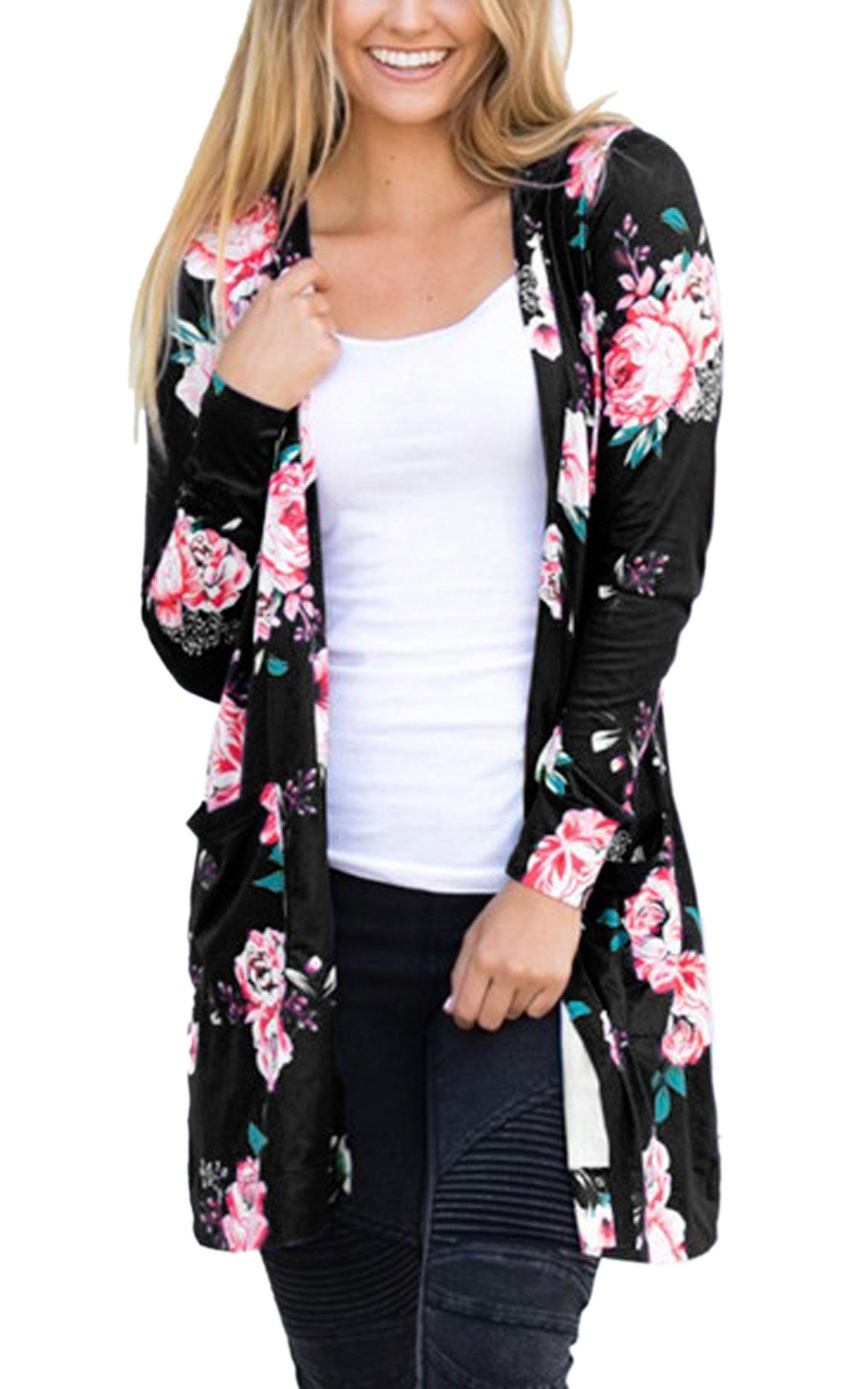 ECOWISH Womens Floral Print Long Sleeves Kimono Cardigans Blouses Coverup Chiffon Jacket Tops, Black2, Small