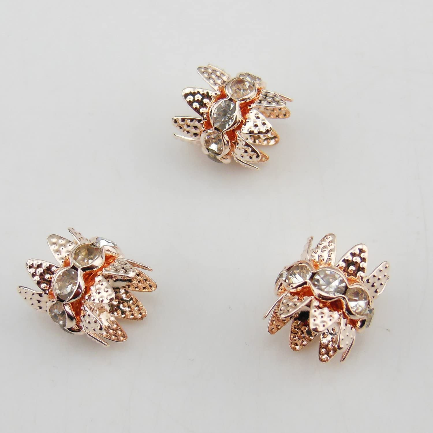 30PCS 10mm Silver Plated Double Beads Caps With Rhinestone Filigree Flower Cup for Jewelry Making DIY HT-1000-1