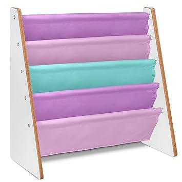 LIVIVO Childrens Colourful Sling Storage Bookshelf Easy Access Wooden Book Rack Soft Nylon Fabric