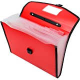 TRANBO Plastic File Folder with 13 Pockets, Handle, Index Tab, A4 Size, Red