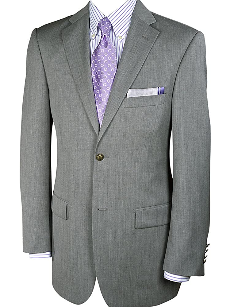 Paul Fredrick Men's 100% Wool Two-Button Travel Blazer Pearl Grey Long