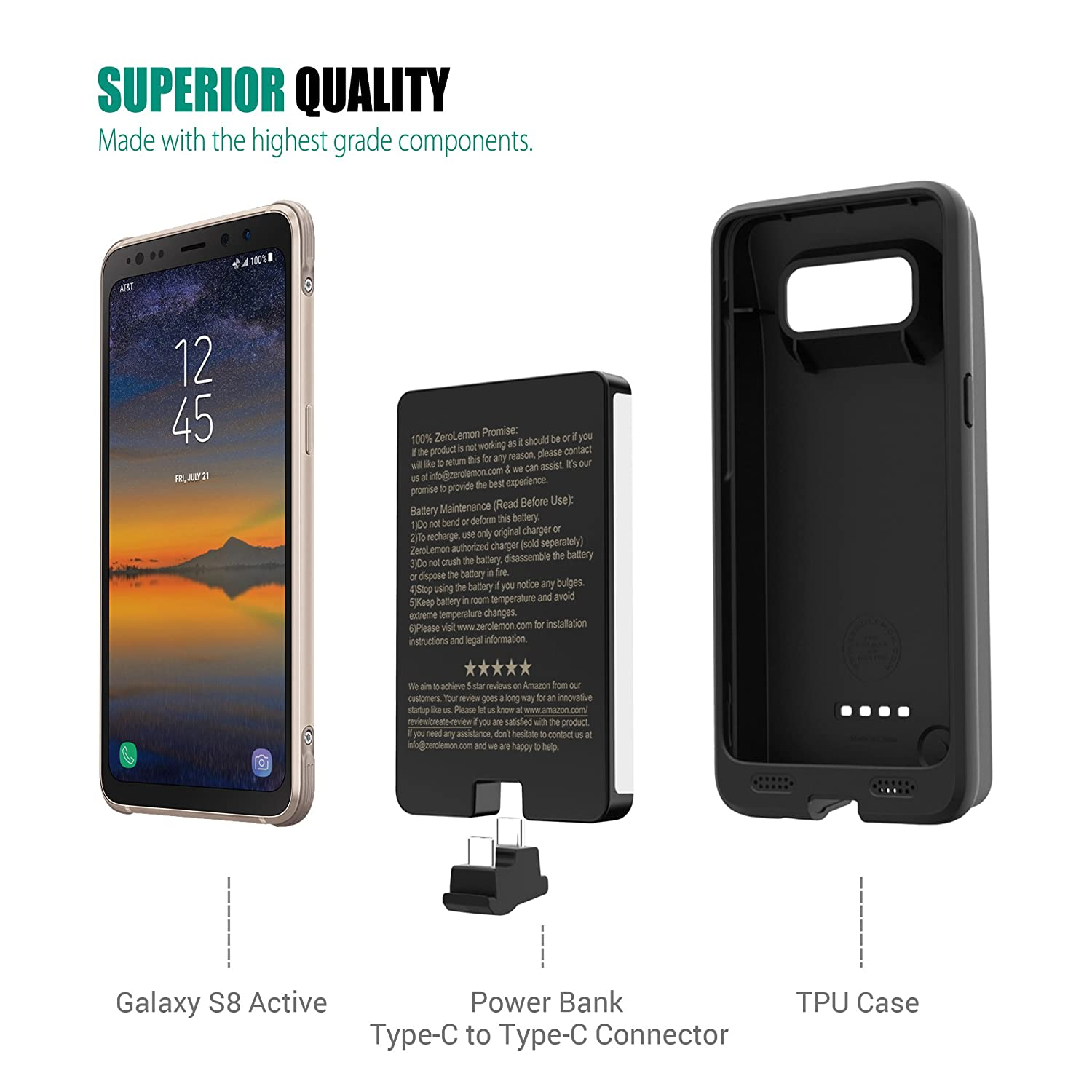 timeless design 0a7c1 a4af6 Mua sản phẩm Samsung Galaxy S8 Active Battery Case, ZeroLemon Ultra ...