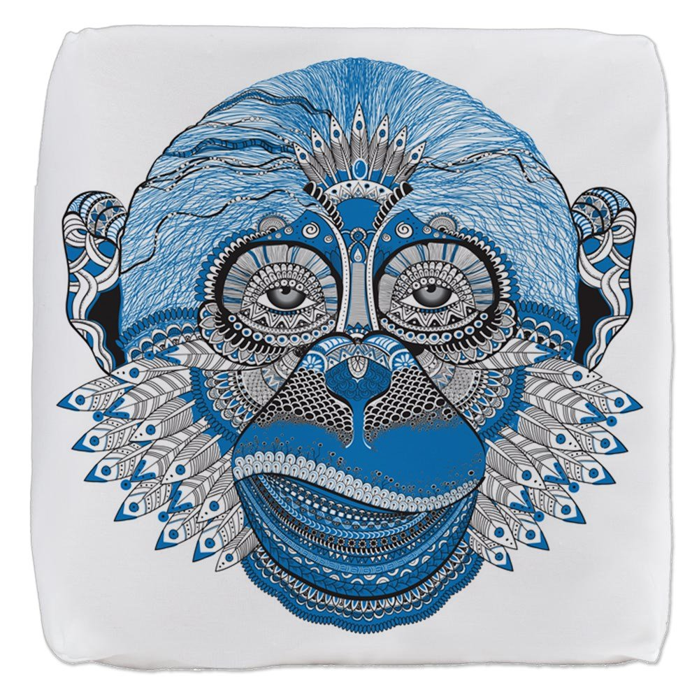 18 Inch 6-Sided Cube Ottoman Chinese New Year Monkey 2016 Lucky Blue