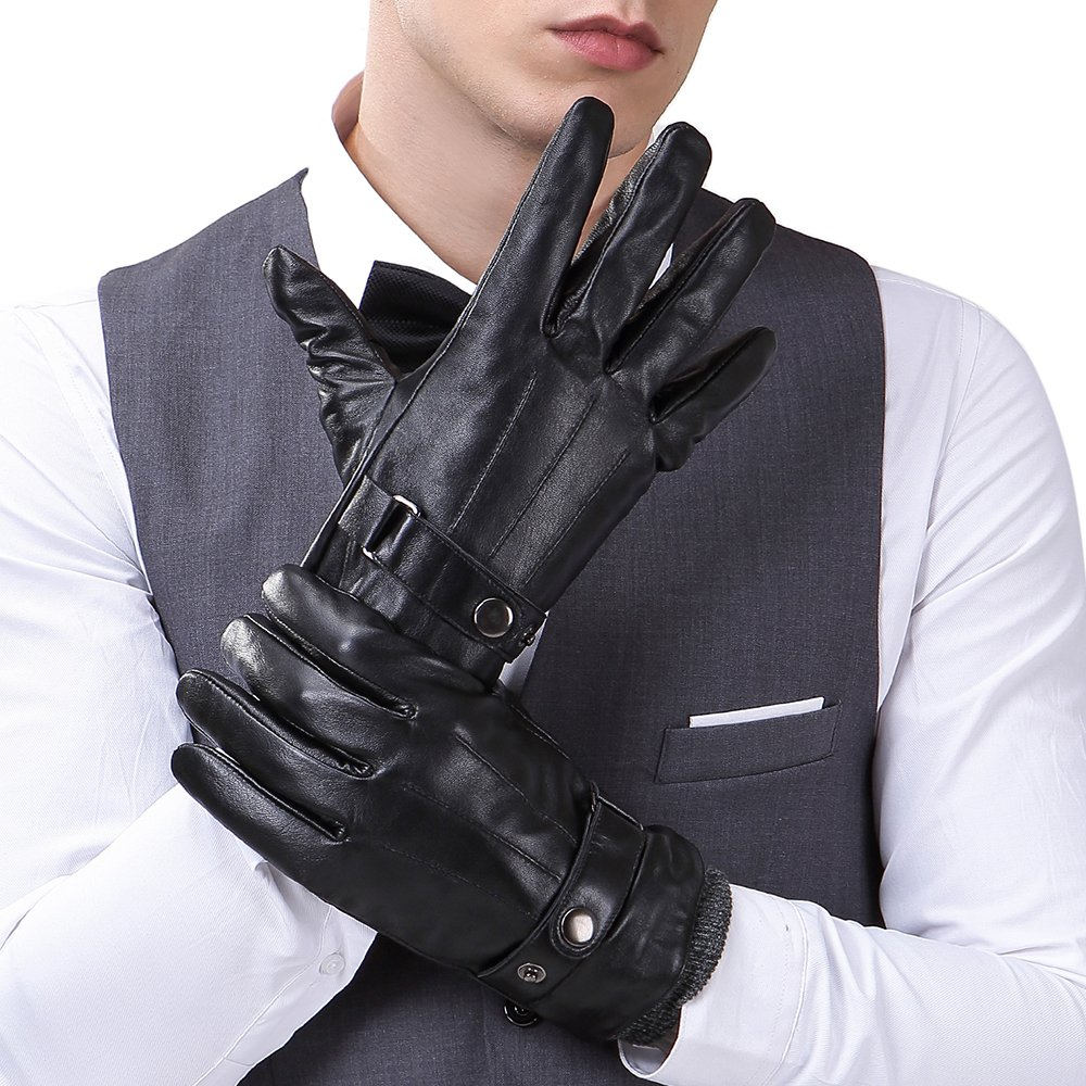 Mens Luxury Touchscreen Italian Nappa Genuine Leather Winter Warm Gloves for Texting Driving Cashmere Lining Blend Cuff (2XL-9.8'', Black)
